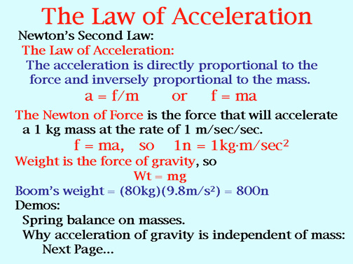 law of acceleration Acceleration sentence examples  galileo proceeded to measure the motion of a body on a smooth, fixed, inclined plane, and found that the law of constant acceleration along the line of slope of the plane still held, the acceleration decreasing in magnitude as the angle of inclination was reduced.